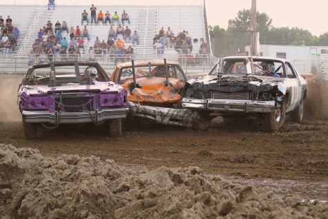 A demolition derby in Sidney, Montana.
